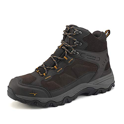 NORTIV 8 Men's Waterproof Hiking Boots Outdoor Mid Trekking Backpacking Mountaineering Shoes Brown Size 10.5 US JS19004M