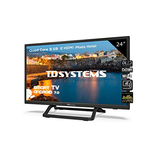 Televisor Led 24 Pulgadas HD Smart, TD Systems K24DLX9HS. Resolución 1366 x 768, 2X HDMI, 2X USB, Smart TV.