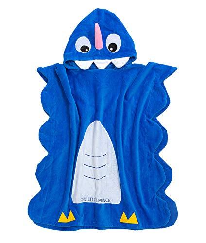 FEOYA - Toalla de Baño de Cartoon con Capucha de Niños Niñas 3-8 Años para Baño Playa Natación Surf Infantil Poncho de Dibujos de Unicornio Algodón Azul - 70 * 70cm