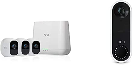 Arlo Pro 2 - Wireless Home Security Camera System with Video Doorbell | Rechargeable, Night vision, Indoor/Outdoor, 1080p, 2-Way Audio, Wall Mount | Cloud Storage Included | 3 camera kit