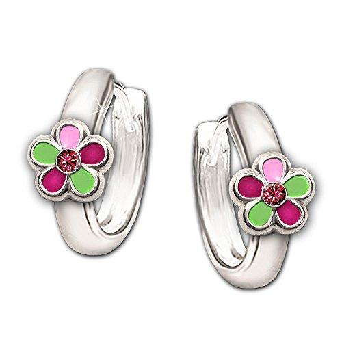 Clever Schmuck Silberne Kinder Creole 12 mm Blümchen grün pink rosa lackiert mit Zirkonia rot STERLING SILBER 925