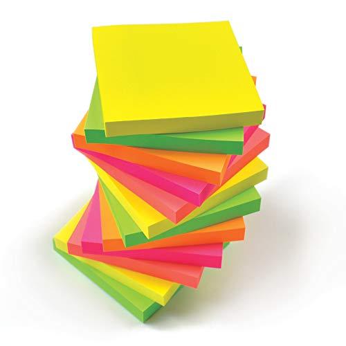EVG, 600 foglietti adesivi per appunti,in colori fluo assortiti, rimovibili, misura 76x 76mm, 6blocchetti da 100pezzi confezionati singolarmente