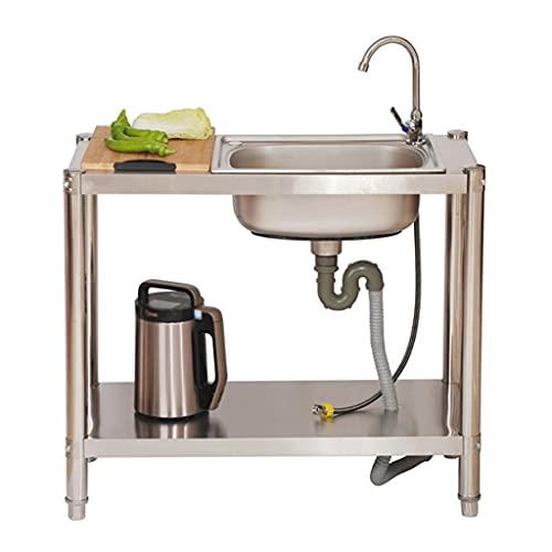 Fregadero Cocina Fregadero Industrial Gran Capacidad,Fregadero de acero inoxidable-con soporte-cocina fregadero individual-banco de trabajo con plataforma (90 × 40 × 80,120 × 45 × 80,120 × 46 × 80cm