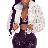 Geilisungren Damen Mantel Winter Elegant Warm Faux Fur Kunstfell Jacke Kurz Kunstpelz Flauschiges Coat Outwear Umlegekragen Langarm Parka Felljacke Fellmantel Einfarbige Wintermantel für Frauen