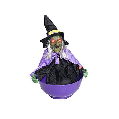 Hexe Süßigkeitenhalter Obstschale für Halloween-Party, Mode Persönlichkeit Halloween Dekorationen Süßigkeiten Schüssel mit Sound Lichter Gr. Einheitsgröße, violett