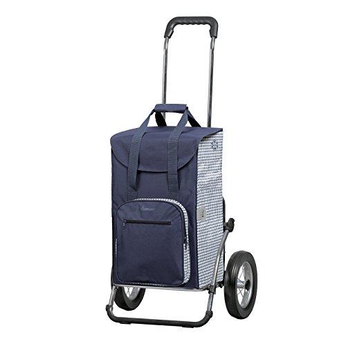Andersen Einkaufstrolley Royal und 45 Liter Einkaufstasche Dante blau/weiß mit Kühlfach Einkaufswagen Stahlgestell klappbar