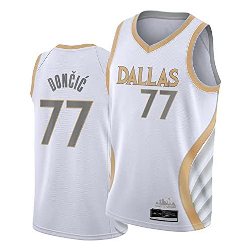 FDGHSX 77# Dóńcic - Camiseta de baloncesto para hombre bordada de manga corta para baloncesto, temporada 2020-21, Dállās Swingman, camiseta XL
