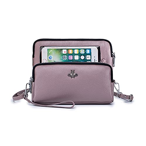 Genuine Leather Crossbody Phone Bag Cell Phone Purse with Touch Screen Window Women Wristlet Wallet with Card Slots Light Purple