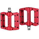 Puroma Mountain Bike Pedal Nylon Fiber Non-Slip 9/16 Inch Bicycle Platform Flat Pedals for Road Mountain BMX MTB Bike (Red)