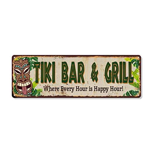 Tiki BAR & Grill Sign Hut Decor Signs Bars Grill Decorations Hawaiian Accessories Patio Beach Surfboard Wall Art Plaque Vintage Tin Gift 6 x 18 High Gloss Metal 206180091034