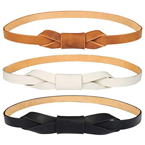 FANTESI 3 Stück schmaler Taillengürtel für Damen, verstellbarer Ledergürtel
