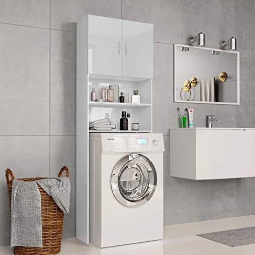 *Festnight Waschmaschinenschrank Hochglanz-Weiß 64×25,5×190 cm Spanplatte Hochschrank | Badhochschrank Schrank | Badschrank Mit 2 Türen und 2 offenen Fächern*
