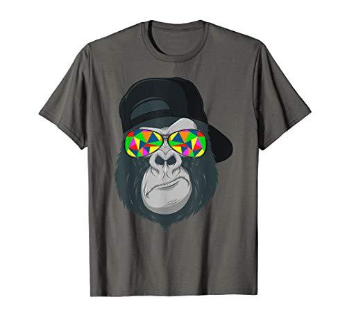 Herren Gorilla Affen Kopf Gesicht mit bunter Sonnenbrille und Cap T-Shirt