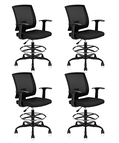 CLATINA Adjustable Drafting Chair with Breathable Mesh Backrest and Foot Ring for Home Office Black 4 Pack