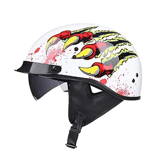 FANGJIA-Helmet Casco Moto de Cara Abierta Retro Motocicleta Jet Casco,Unisex Casco de Medio Crucero Retropara Moto Medio Cubierta con Visera para Chopper,Dot Homologado