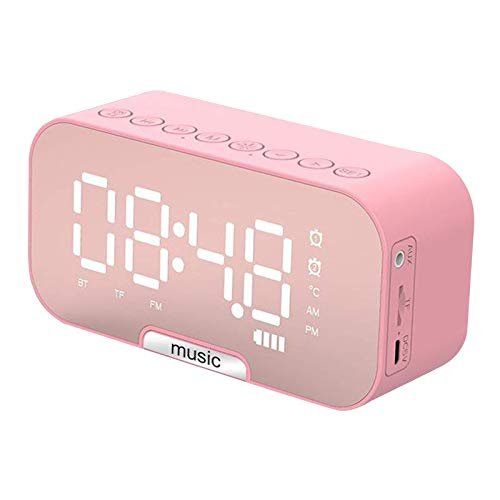 YCLX Espejo Digital Inalámbrico LED Reloj Despertador Altavoz Multifuncional MP3 Radio FM-Rosa