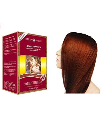 Surya Henna, Brasil, Natural Hair Coloring und Behandlung Powder, Mahagoni, 1,76 Unzen (50 g)