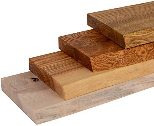 LAMO Manufaktur Wandregal Holz Baumkante Esche Rustikal 60cm, LW-01-A-003-60
