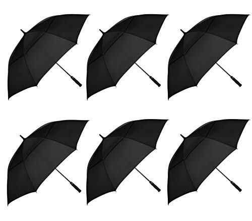 MRTLLOA 6 Pack Golf Umbrella 68/62 Inch Large Oversize Double Canopy Vented Automatic Open Stick Umbrellas for Men & Women(68in/Black)