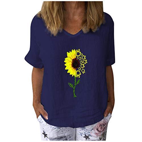 Damen Tops Casual Kurzarm T-Shirt mit Sonnenblumenmuster und V-Ausschnitt Baumwolle Leinen Lose Tunika Bluse(XL,Z1 Marine)