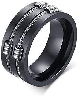 خاتم رجالي من الفولاذ المقاوم للصدأ خاتم أصلي WIA أسود من مجوهرات