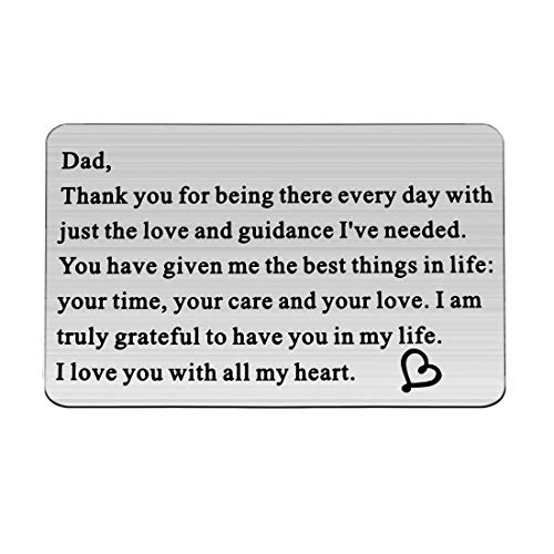 CHOORO Metal Wallet Insert Card for Father Engraved Love Note for Dad from Daughter/Son (Being There w)