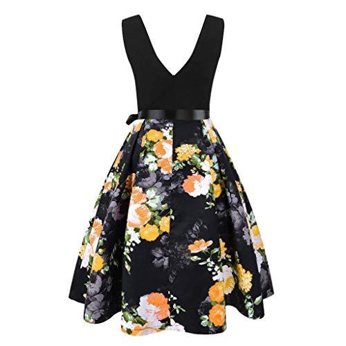 Vestido Mujer Corto para Fiesta Boda con Encaje sin Mangas - 40 Colores, Vestidos 50s Retro para Cóctel Rockabilly Dress Vintage