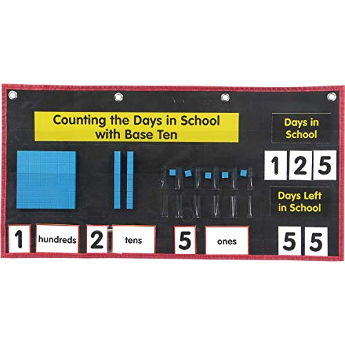 """Really Good Stuff Counting The Days with Base Ten Pocket Chart – 22¼"""" by 11¾"""" – Includes Base Ten Blocks, Place Value Cards, Number Cards – Grommets for Easy Hanging"""