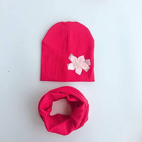 BAONUANM Conjunto De Sombrero para Niños,Niña Bebé Flor Gorra De Sombrero Rojo Collar Bufanda Conjunto Pajarita Algodón Flor Gorro para Niñas Mariposa Nudo Melamed Sombrero 6 Meses-3 Años
