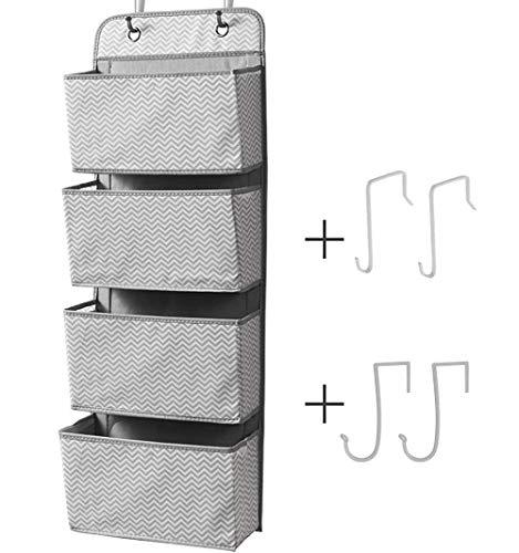 ManGotree Organizador de puerta con 4 bolsillos para colgar en la puerta, organizador de almacenamiento para juguetes, revistas, bolsos, llaves, gafas de sol, sombrero (gris)