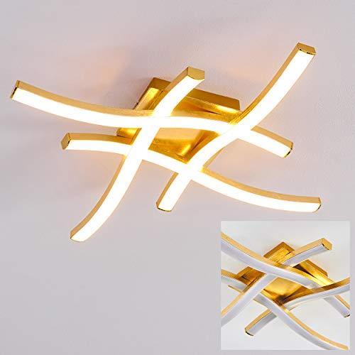 LED Deckenleuchte Grossarl, moderne Deckenlampe aus Metall/Kunststoff in Gold/Weiß, 4x5 Watt, 2600 Lumen (insgesamt), Lichtfarbe 3000 Kelvin, Leuchte in Rautenform