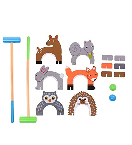 Woodland Animal Croquet Set for Kids - Outdoor Yard Games Includes 6 Wickets, 2 Mallets, 2 Balls, Instructions - Mallets Measure 24'' Long