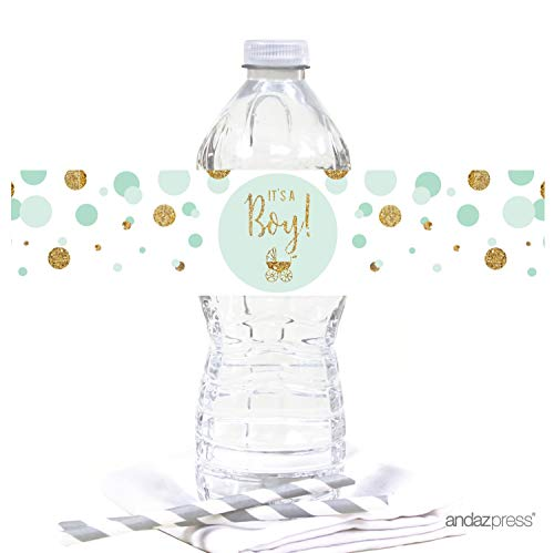 Andaz Press Mint Green Gold Glitter Boy Baby Shower Party Collection, Water Bottle Label Stickers, 20-Pack
