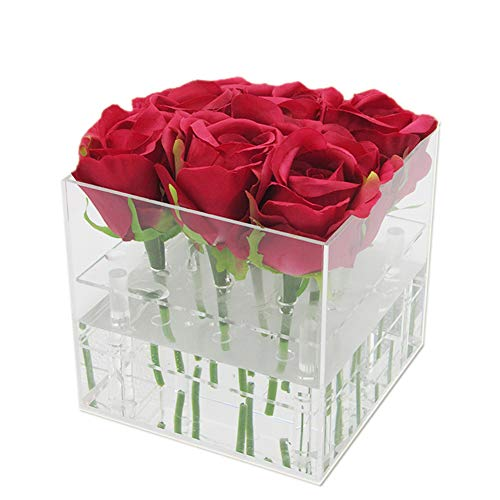 Arcylic Rose Box, Flower Water Holder Pot with Clear Lid, Removable 2 Tiers Panel - Valentine's Day, Mother Day, Anniversary, Birthday Gift