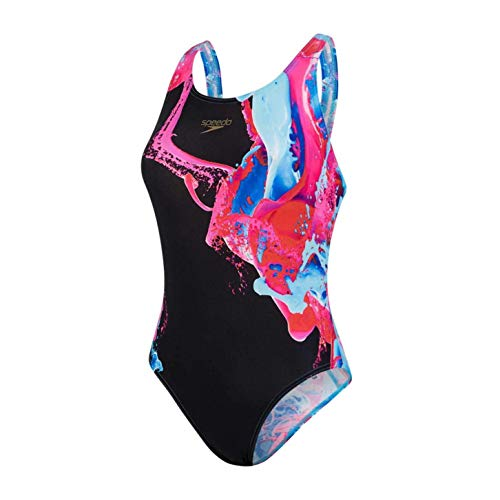 Speedo ColourFlood Placement Digital Powerback Badpak Dames Zwart/Electric Roze/Powder Blauw/Beautiful, 38