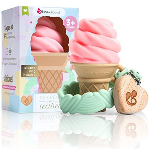 Mordedor de silicona para bebés NatureBond - Juguete para la dentición de helado con clip de silicona para sujetar el chupete | 5 bonitos colores | Sin BPA (Fresa - Rosa)