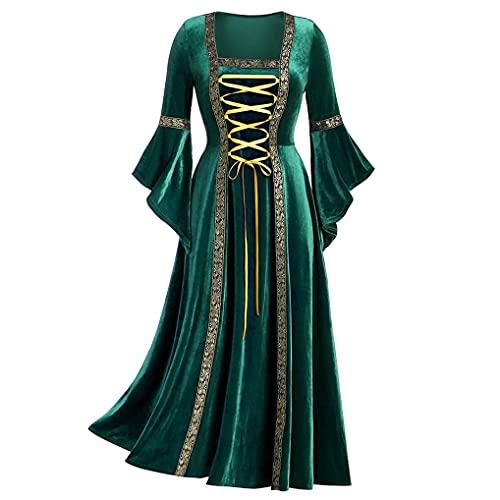 MDKWOV Renaissance Medieval Dress for Womens Vintage Gothic Plus Size Irish Over Costume Retro Gown Princess Dress Green