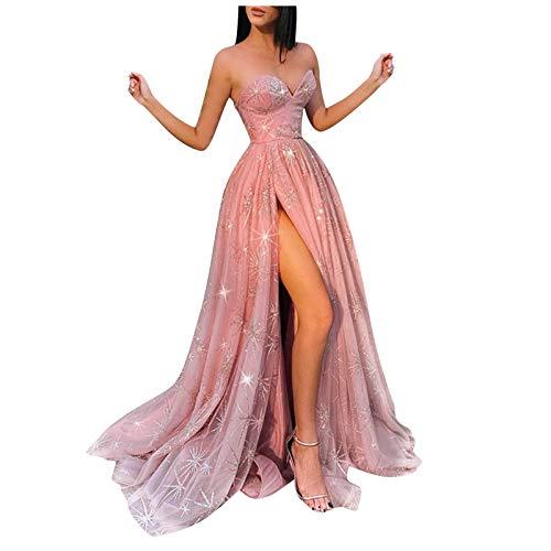 Janly Clearance Venta Vestidos de mujer para fiesta de noche, mujeres formal fiesta de baile vestido de baile sexy sin mangas vestidos largos sin espalda, para Navidad (rosa-M)