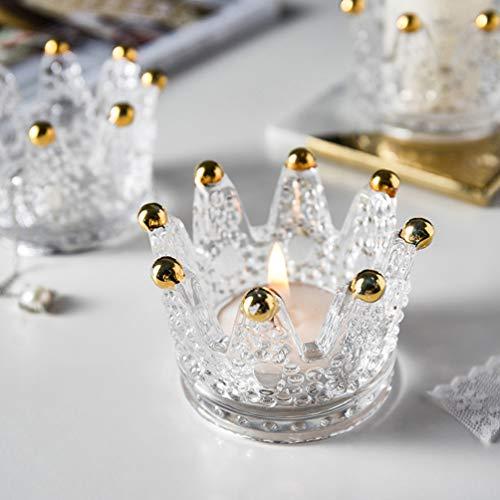 OSALADI 2pcs Krone Glas Kerzenhalter Teelicht Kerzenhalter für Hochzeit Hauptdekoration (Gold)