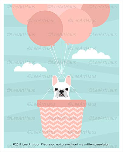 831D - White French Bulldog in Pink Hot Air Balloon UNFRAMED Wall Art Print by Lee ArtHaus
