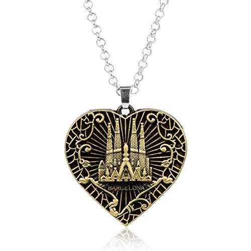 Collar con colgante de corazón de castillo de Hip Hop, un regalo elegante y con estilo para amigos