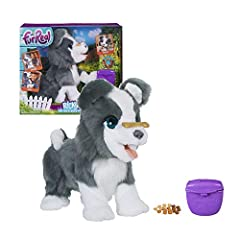 """This talented pup can perform cool tricks: fur Real Ricky, the trick-loving' interactive plush pet toy flips his bone, shakes """"paws"""", and can even bark a tune! He responds with 100+ sound-and-motion combinations: he makes happy sounds, tilts his head..."""