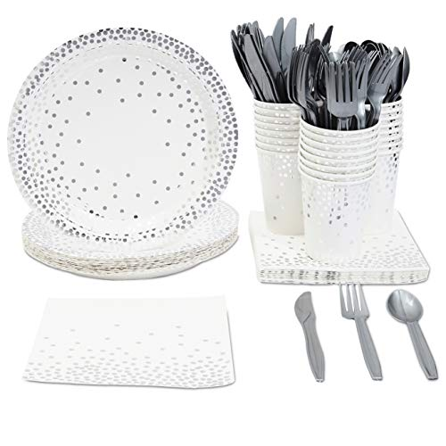 Silver Confetti Party Bundle, Includes Plates, Napkins, Cups, and Cutlery (24 Guests,144 Pieces)