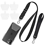 Phone Lanyard, SHANSHUI Adjustable Crossbody Around Neck Lanyard and Wrist Strap Tether Phone Charms with 4 Sticky Pads Compatible with iPhone,Samsung Galaxy and All Smartphones-Black
