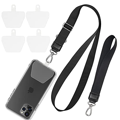 Phone Lanyard, SHANSHUI Adjustable Around Neck Lanyard and Wrist Strap Tether Keychain Holder with 4 Sticky Pads Compatible with iPhone,Samsung Galaxy and All Smartphones with Full Cover Black