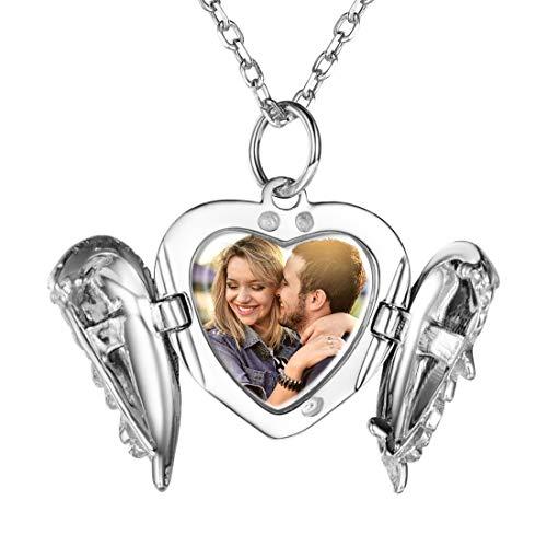 Custom4U Locket Personalizado con Foto para Mujeres Guardapelo Plata de Ley 925 Joyería DIY Conmemorativa para Parejas Relicario Colgante Corazón/Oval/Redondo Arbol de Vida/Alitas de Angel