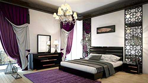 Best Price Glossy Black Rosegold Queen Bedroom Set 5Pcs Soflex Nova Domus Romeo Made in Italy