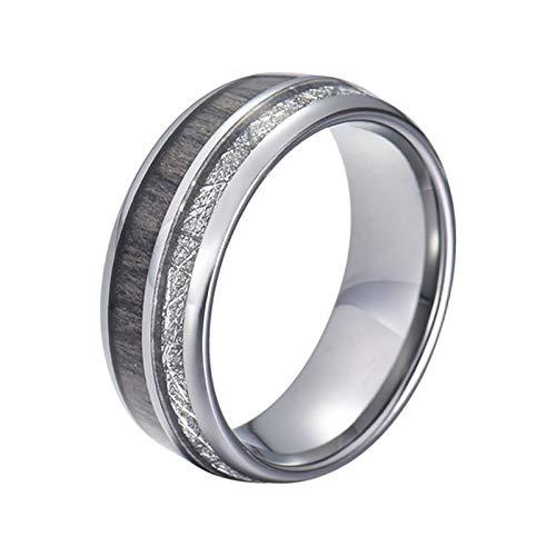 Gualiy Anillos de promesa para hombres, 8 mm, acero inoxidable/tungsteno plata meteorito y madera incrustada anillos para hombres, niños, padres, maridos, plata,