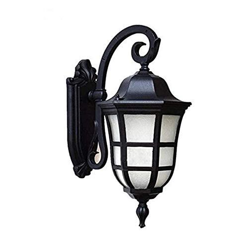 PQQ Lámpara de Pared Apliques de Pared Exteriores Impermeables Vintage E27 para Exteriores, Apliques de Pared de Vidrio de Aluminio Negro Mate para jardín, Patio, balcón, Esquina de Patio