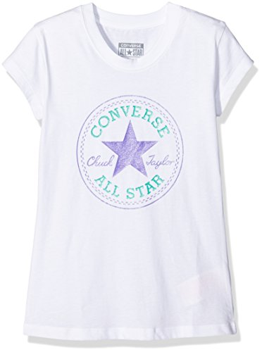 Converse Mädchen Chuck Patch T-Shirt, Weiß (White), Small (Herstellergröße: 8-10Y)